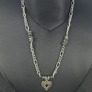 Handmade silver tone necklace heart Shaped pendant